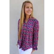 Erma's Closet Lifesaver Print Tunic with Button Detail